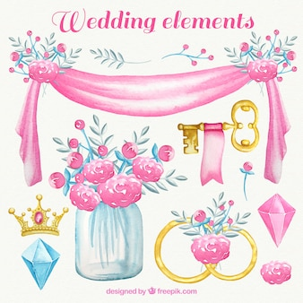 Watercolor wedding elements in pink tones