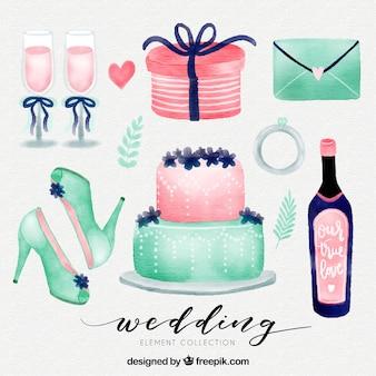 水彩の結婚式の要素セット