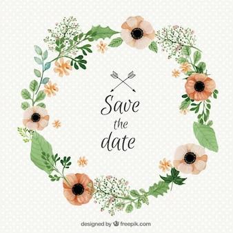 Watercolor wedding floral wreath