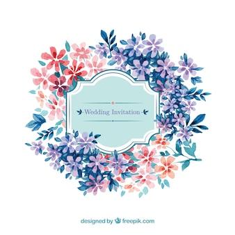 花のスタイルで水彩結婚式の招待状