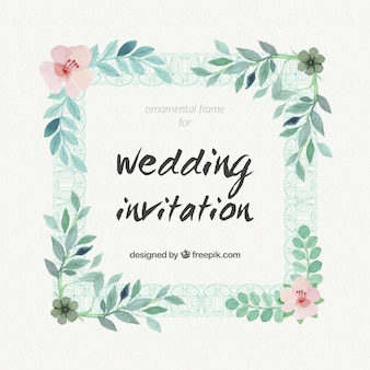Watercolor wedding invitation with a floral frame