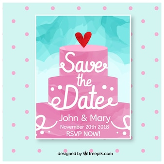 Watercolor wedding invitation with cake