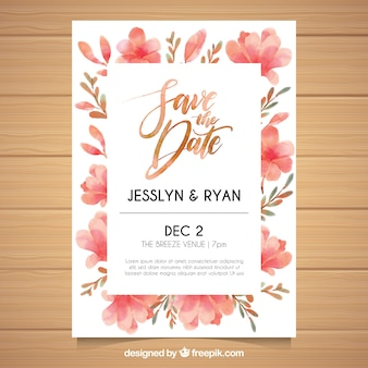 Watercolor wedding invitation with floral style