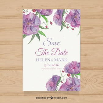 Watercolor wedding invitation with purple flowers