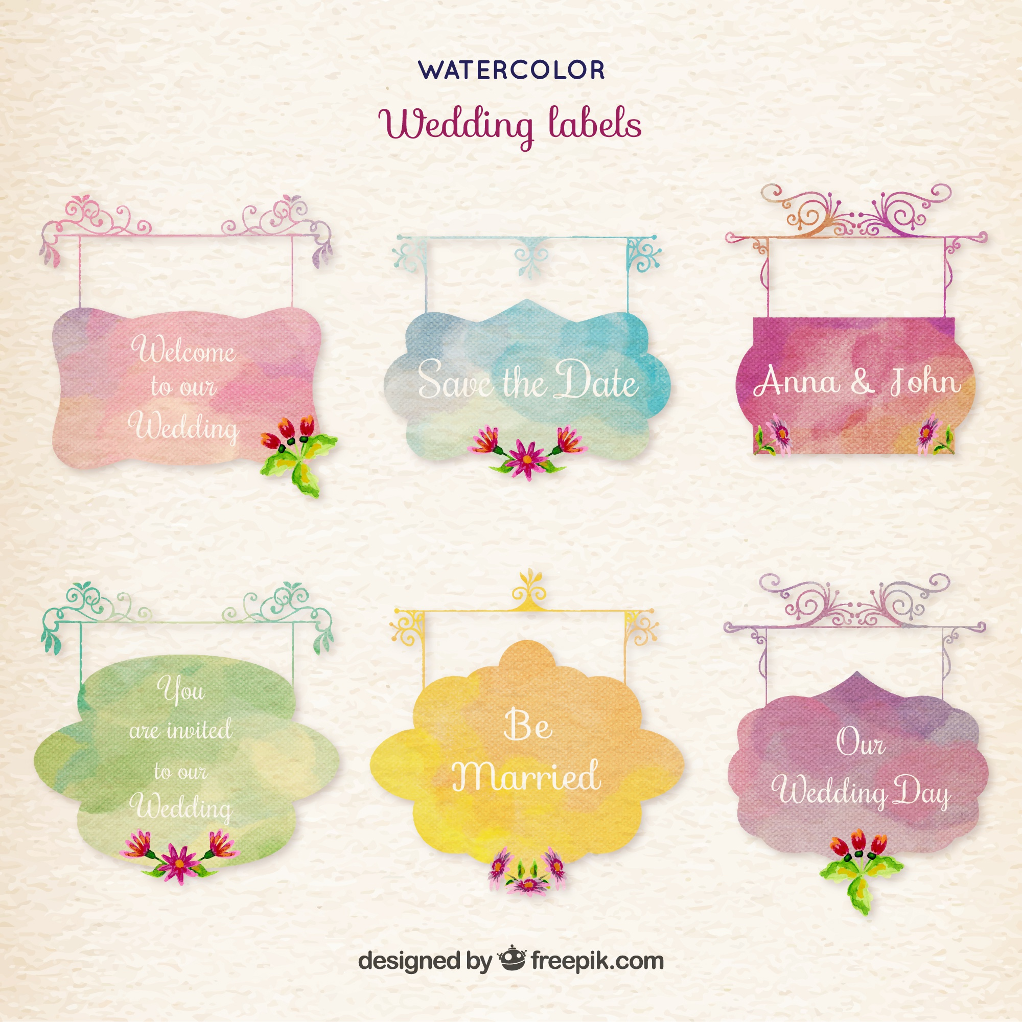 Watercolor wedding labels