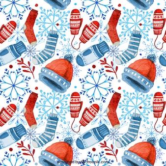 Watercolor winter accessories pattern