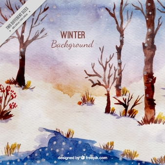 Watercolor winter background with trees