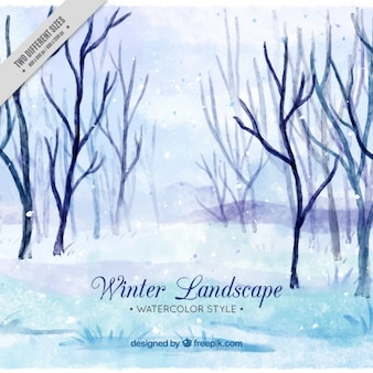 Watercolor winter landscape with trees without leaves