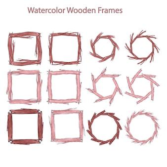 Watercolor wooden frames