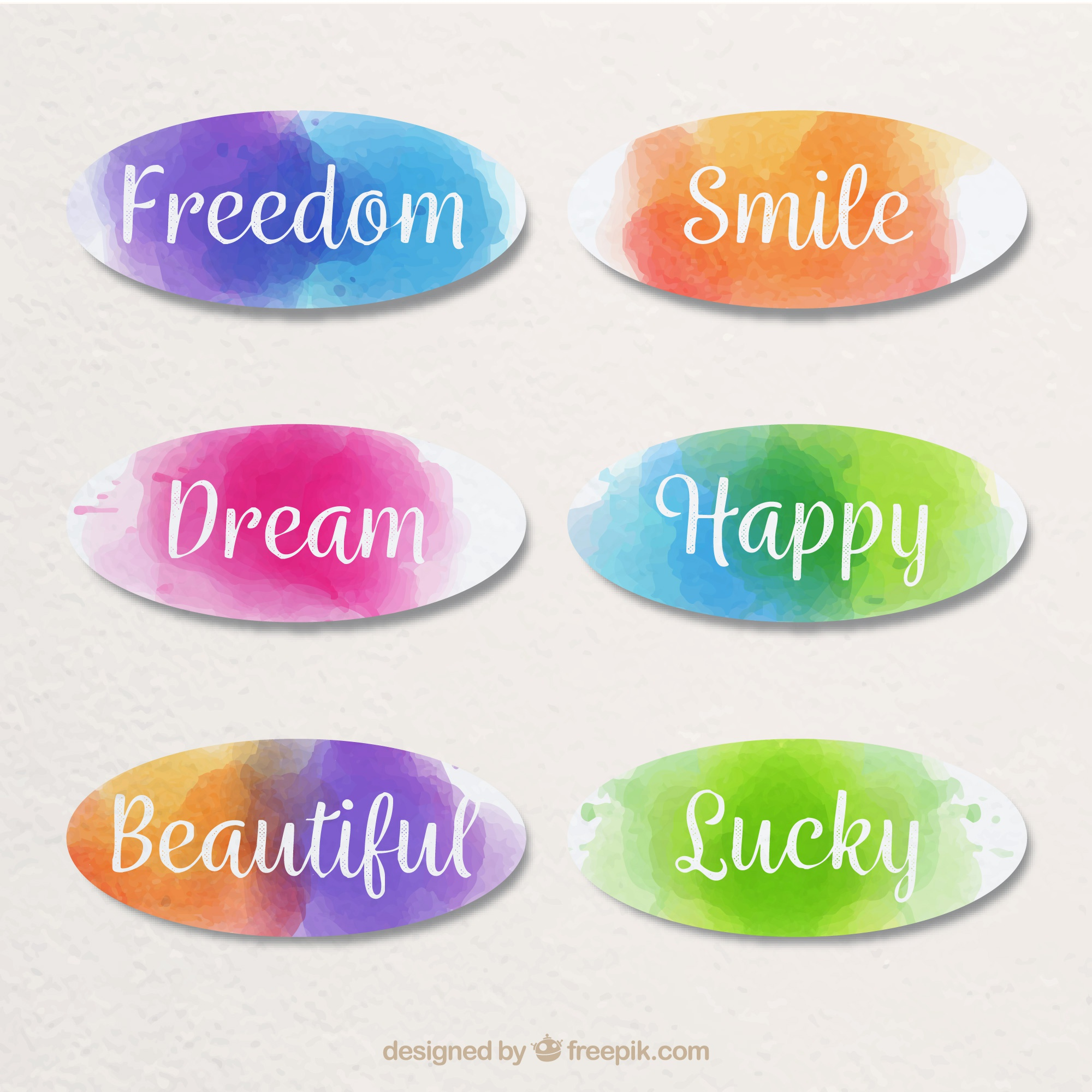 Watercolor word stickers