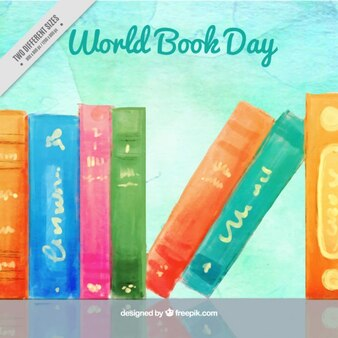 Watercolor world book day background
