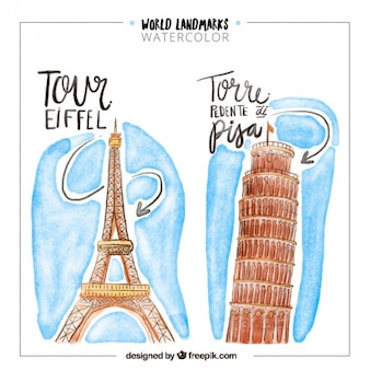 Watercolor world landmarks of france and italy