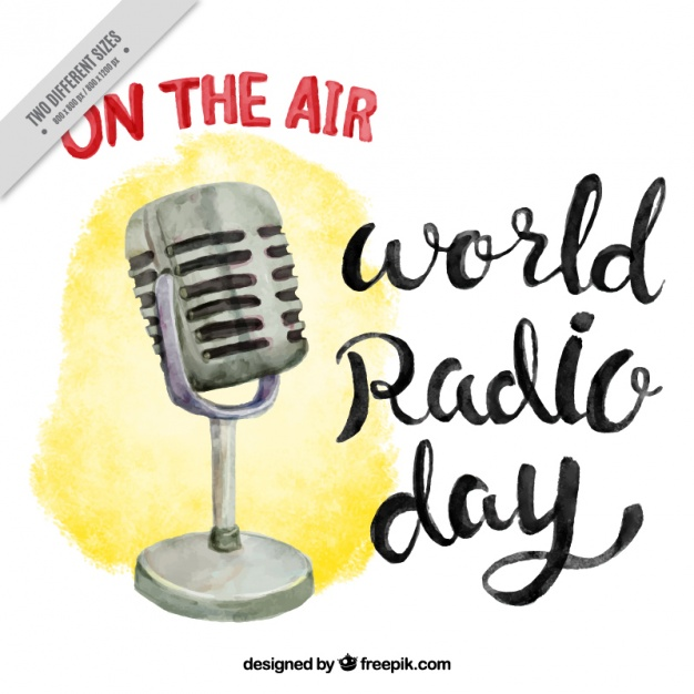 Watercolor world radio day background with vintage microphone