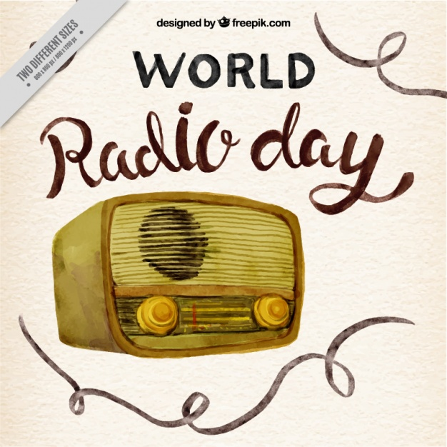 Watercolor world radio day background