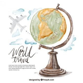 Watercolor world travel illustration