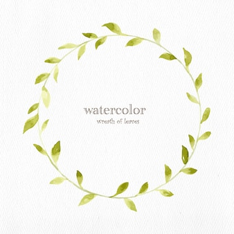 Watercolor wreath of leaves