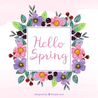 Watercolor wreath with spring text