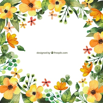 Watercolor yellow flowers frames