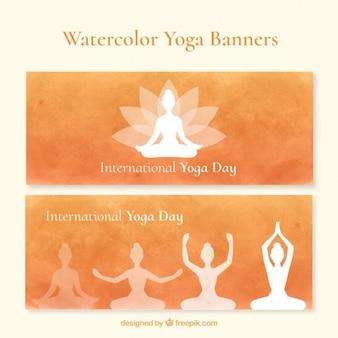 Watercolor yoga banners