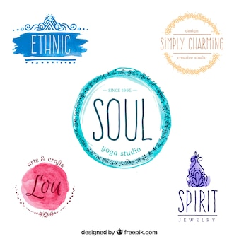 Watercolor yoga logos set
