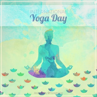 Watercolor yoga silhouette background