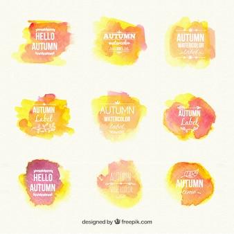 Watercolour autumn labels