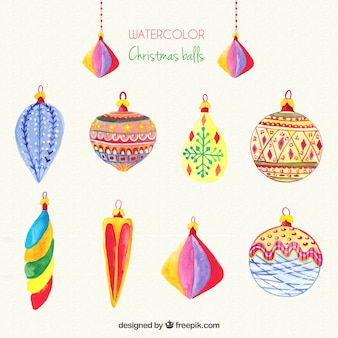 Watercolour baubles