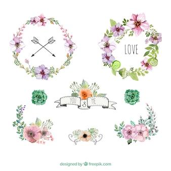 水彩花の花輪や装飾品