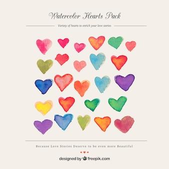 Watercolour heart pack