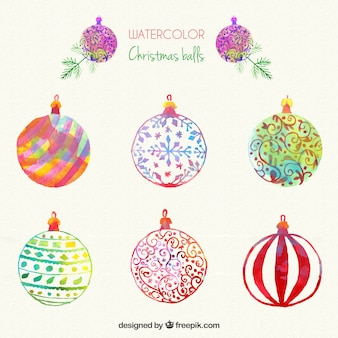 watercolour painted christmas baubles