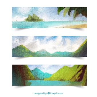 Watercolour panorama banners