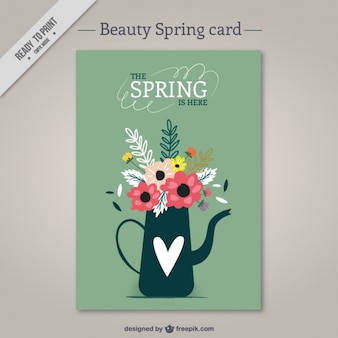 Watering can with flowers card