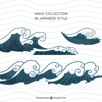 Wave set in japanese style