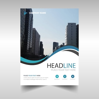 Wavy abstract annual report template