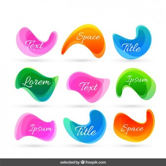 Wavy abstract colorful labels