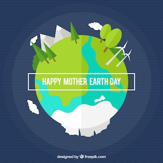 Wavy background with mother earth in flat design
