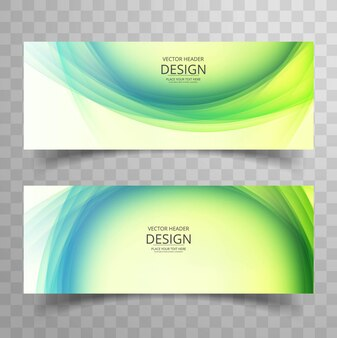 Wavy banner design in green tones