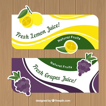Wavy banners with lemons and grapes