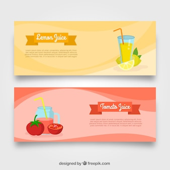 Wavy banners with two different fruit juices