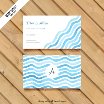 Wavy business card in watercolor style