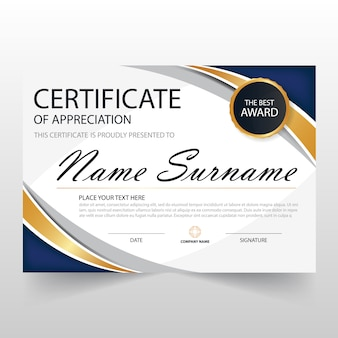 Wavy certificate of appreciation template