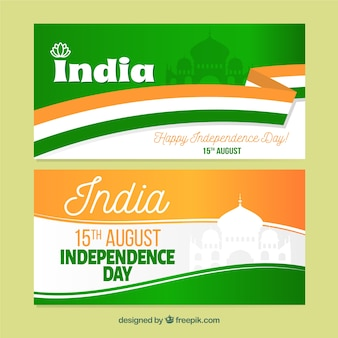 Wavy india independence day banners