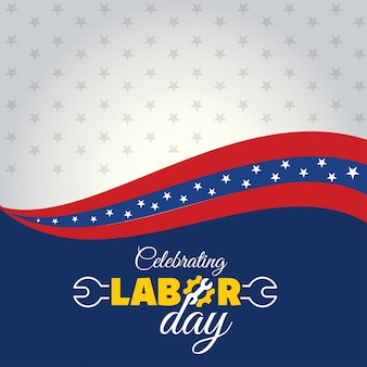 Wavy labor day illustration