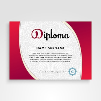 Wavy red and white ethnic certificate template