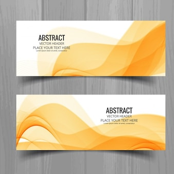 Wavy stylish banners set