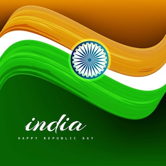 Wavy tricolor Indian flag