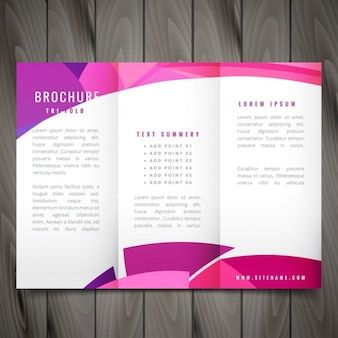 Wavy trifold template in pink color