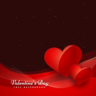 Wavy valentines background with two hearts