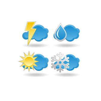weather forecast icons with blue clouds