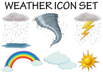 Weather icons with different climate illustration